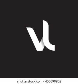 initial letter vl modern linked circle round lowercase logo white black