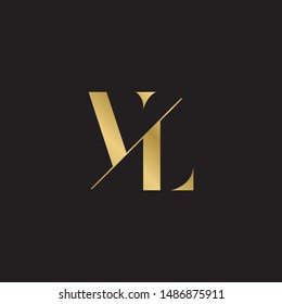 Initial letter vl sliced uppercase modern logo design template elements. Gold letter Isolated on black  background. Suitable for business, consulting group company.