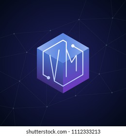 Initial letter VM, block chain, looping mono line circuit letter on hexagon cube logo, blue magenta gradient color on black blue network background