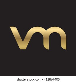 initial letter vm linked round lowercase logo gold black background