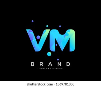 Initial letter VM logo with colorful background, letter combination logo design for creative industry, web, business and company. - Vector