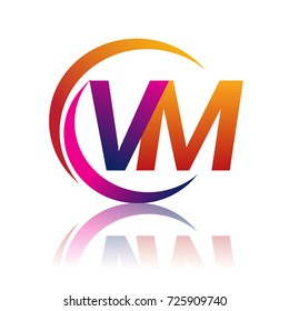 initial letter VM logotype company name orange and magenta color on circle and swoosh design. vector logo for business and company identity.