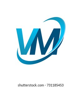 initial letter VM logotype company name colored blue swoosh design concept. vector logo for business and company identity.