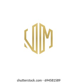 Initial letter VM, minimalist line art hexagon shape logo, gold color