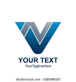 Initial letter VN or NV logo template colored grey blue triangle design for business and company identity