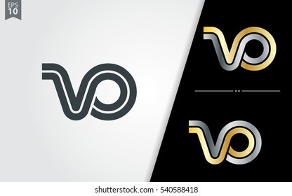 Initial Letter VO VP Linked Design Logo
