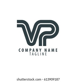 Initial Letter VP Linked Design Logo