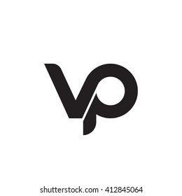 initial letter vp linked round lowercase monogram logo black