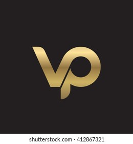 initial letter vp linked round lowercase logo gold black background