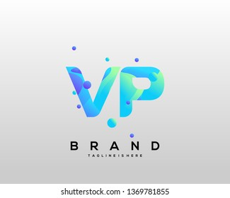 Initial letter VP logo with colorful background, letter combination logo design for creative industry, web, business and company. - Vector