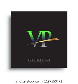 initial letter VP logotype company name colored green and gold swoosh design. vector logo for business and company