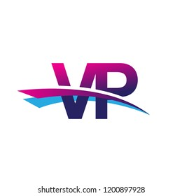 initial letter VP logotype company name colored blue and magenta swoosh design. vector logo for business and company