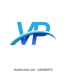 initial letter VP logotype company name colored blue and swoosh design. vector logo for business and company identity.