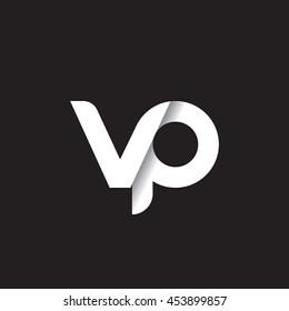 initial letter vp modern linked circle round lowercase logo white black