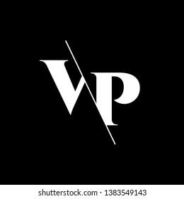 Initial Letter VP Monogram Sliced. Modern logo template isolated on black background