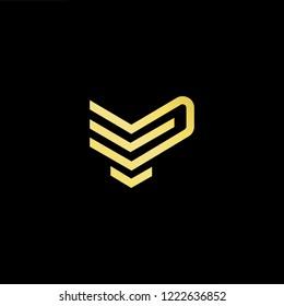Initial letter VP PV EP PE minimalist art logo, gold color on black background.