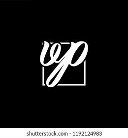 Initial letter VP PV minimalist art monogram shape logo, white color on black background