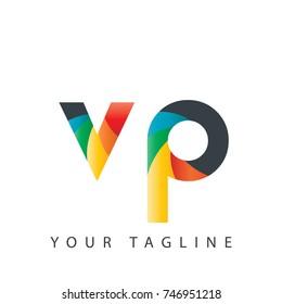 Initial Letter VP Rounded Design Logo