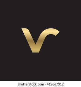 initial letter vr linked round lowercase logo gold black background