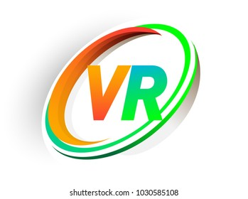 Initial Letter VR Logotype Company Name Colored Orange And Green Circle Swoosh Design Modern