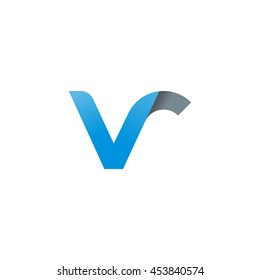 initial letter vr modern linked circle round lowercase logo blue gray
