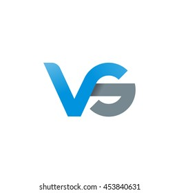 initial letter vs modern linked circle round lowercase logo blue gray