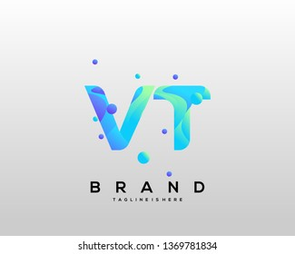 Initial letter VT logo with colorful background, letter combination logo design for creative industry, web, business and company. - Vector