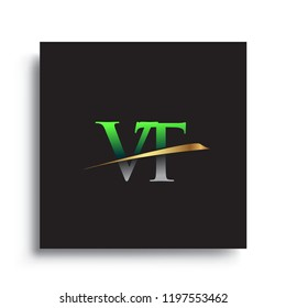 initial letter VT logotype company name colored green and gold swoosh design. vector logo for business and company