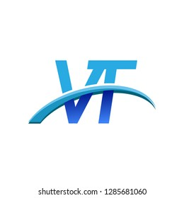 initial letter VT logotype company name colored blue and swoosh design. vector logo for business and company identity.