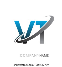 initial letter VT logotype company name colored blue and grey swoosh design. logo design for business and company identity.