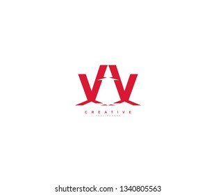 Initial Letter VV Abstract Modern Futuristic Sharp Stylish Red Color Logo
