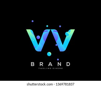 Initial letter VV logo with colorful background, letter combination logo design for creative industry, web, business and company. - Vector