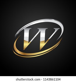 initial letter VV logotype company name colored gold and silver swoosh design. isolated on black background.