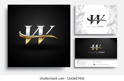initial letter VV logotype company name colored gold and silver swoosh design. Vector sets for business identity on white background.