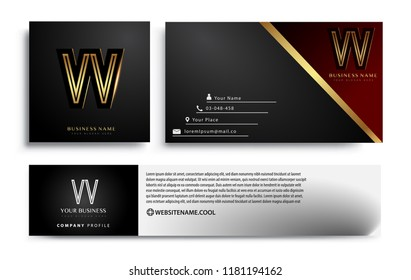 initial letter VV logotype company name colored gold elegant design. Vector sets for business identity on black background.