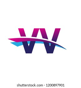 initial letter VV logotype company name colored blue and magenta swoosh design. vector logo for business and company