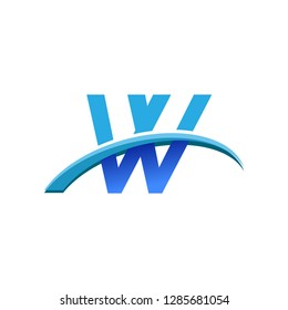 initial letter VV logotype company name colored blue and swoosh design. vector logo for business and company identity.