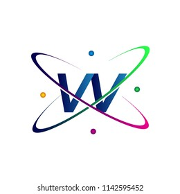initial letter VV logotype science icon colored blue, red, green and yellow swoosh design. vector logo for business and company identity.