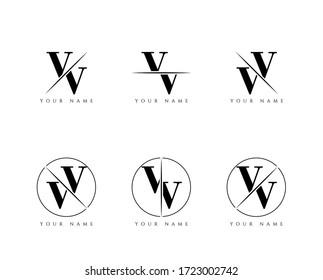 Initial Letter VV Monogram Sliced. Logo template isolated on white background