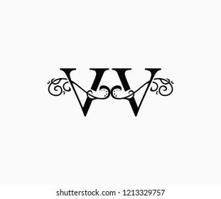 Initial Letter VV Swoosh Flourishes Monogram Logo