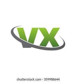 initial letter VX swoosh ring company logo green gray