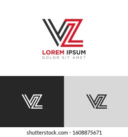 Initial Letter VZ linked uppercase overlap modern logo design template. Suitable for business, consulting group company