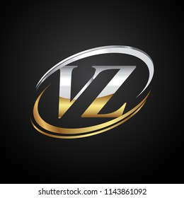 initial letter VZ logotype company name colored gold and silver swoosh design. isolated on black background.
