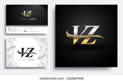 initial letter VZ logotype company name colored gold and silver swoosh design. Vector sets for business identity on white background.
