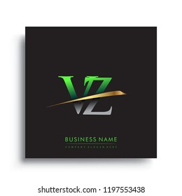 initial letter VZ logotype company name colored green and gold swoosh design. vector logo for business and company