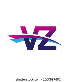 initial letter VZ logotype company name colored blue and magenta swoosh design. vector logo for business and company
