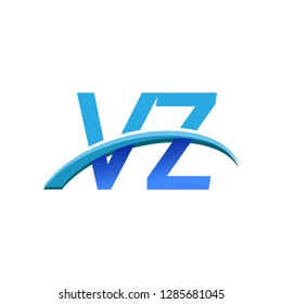 initial letter VZ logotype company name colored blue and swoosh design. vector logo for business and company identity.