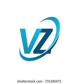 initial letter VZ logotype company name colored blue swoosh design concept. vector logo for business and company identity.