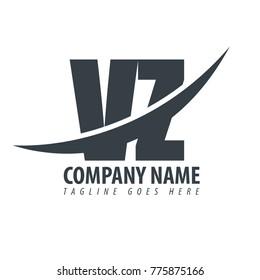 Initial Letter VZ Overlapping Logo
