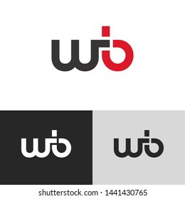 Initial Letter w b linked lowercase logo design template elements. Red letter Isolated on black white grey background. Suitable for business, consulting group company.